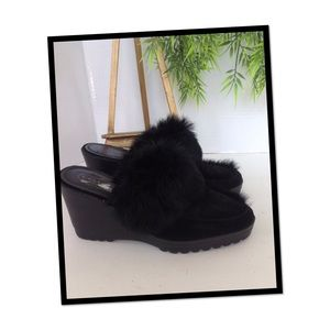 Coach Black Kaela Fur Trim Platform Mules/Slides